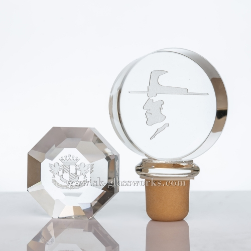 Laser Engraving Crystal Glass Cap With Sythetic Cork Suitable For Bartop/Cork Top