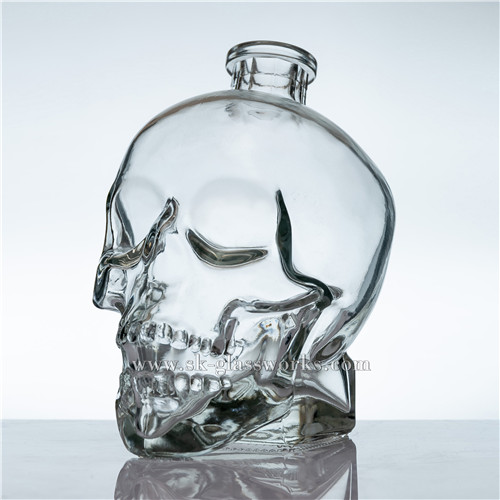 Empty 750ml Skull Spirits Glass Bottle