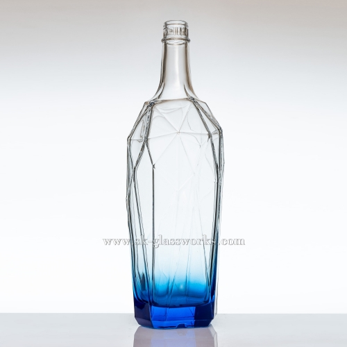 Blue 750ml Unique Glass Bottle for Vodka